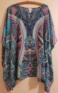 Chico's Boho Style Georgette Poncho Top